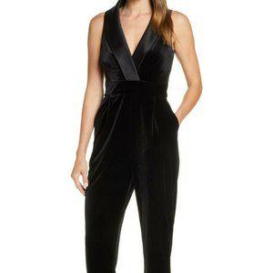Eliza J Black Sleeveless Velvet Jumpsuit Tuxedo